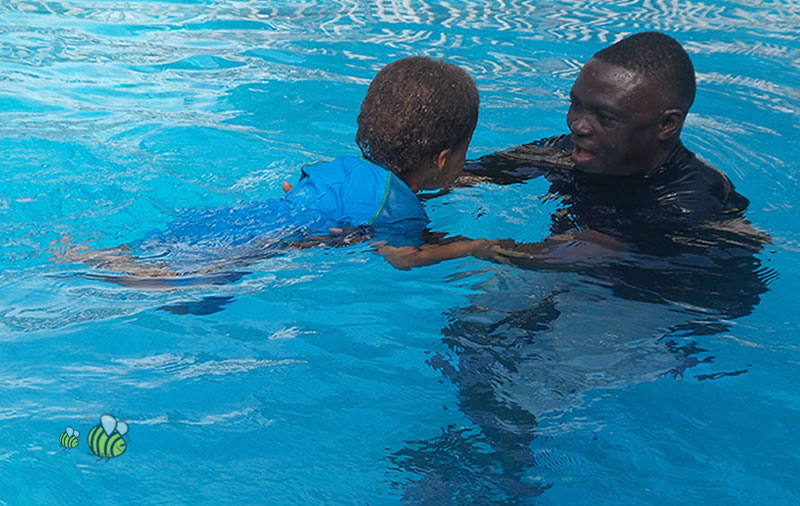 Swimming with Mr Ferrick at Busy Bees Daycare and Preschool